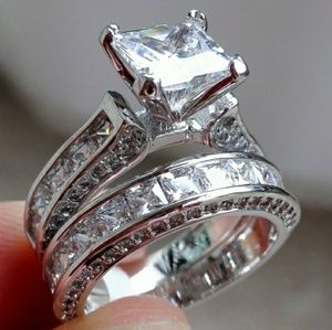 925 Sterling Silver Engagement Wedding Ring Set